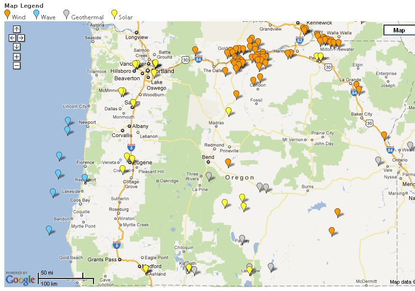 Oregon Renewable Energy Map
