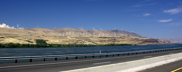 Wind turbines near MaryHill, photo by Sam Churchill