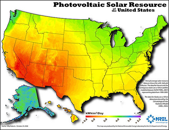 Solar map of the United States from National Renewable Energy Labratory.
